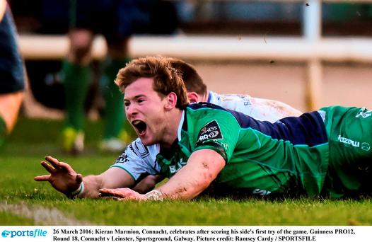 Kieran Marmion, Connacht, celebrates
