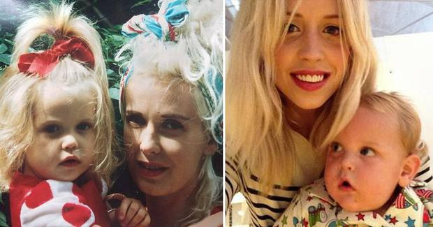 Peaches and her mum Paula Yates and Peaches as a mother with her son Phaedra.