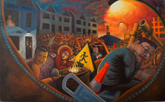 The artwork, entitled 'An Irish Political Allegory' shows seven Fianna Fáil Taoisigh
