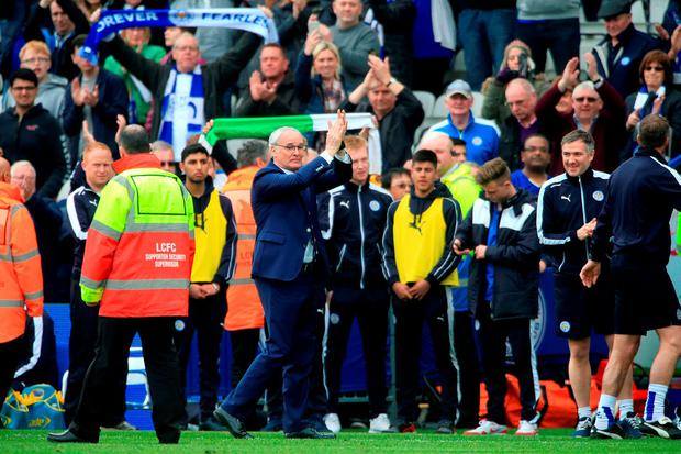 Leicester City manager Claudio Ranieri (c) applauds the fans at the King Power Stadium. Photo: Nick Potts/PA Wire
