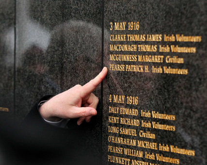 The name of Margaret McGuinness as it appears beside that of Padraig Pearse on the Remembrance Wall in Glasnevin Cemetery Photo: Stephen Collins/Collins Photos