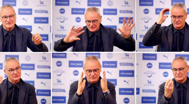Claudio Ranieri in animated mood during yesterday's press conference ahead of Leicester City's match against Sunderland (Getty Images)