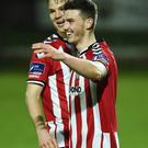 Niclas Vemmelund and Dean Jarvis celebrate at the final whistle (SPORTSFILE)