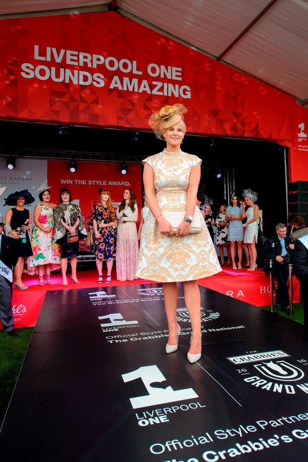 Anna Gilderoy, 25, from Durgam, the winner of Aintree's Style Award on Ladies Day of the Crabbie's Grand National Festival at Aintree Racecourse, Liverpool. PRESS ASSOCIATION Photo. Photo credit Liverpool ONE/PA Wire