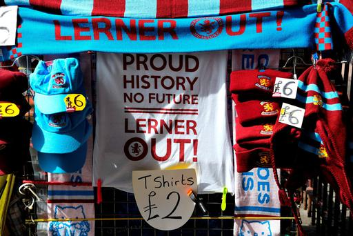 Protesting goods against Aston Villa owner Randy Lerner are on sale prior to the match between Aston Villa and A.F.C. Bournemouth at Villa Park. Photo: Getty