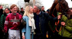 WORLD DOMINATION BECKONS: Michael and Anita O'Leary with jockey David Mullins and Grand National winner Rule The World. Photo: David Davies/PA Wire