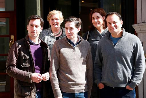 CASUALS: Members of the Fine Gael parlimentary party, Eoghan Murphy, Frances Fitzgerald, Simon Harris, Josepha Madigan and Leo Varadkar, pictured outside the Alexander Hotel in Dublin yesterday. Photo: Frank McGrath
