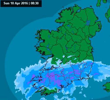 Band of rain across southern counties Credit: Met Eireann