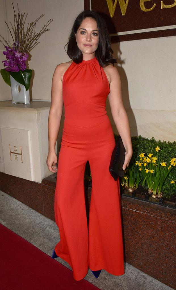 Risk-taker Sarah Greene embarked on the red carpet in a daring red jumpsuit at IFTA Awards 2016 at The Westbury Hotel & Mansion House, Dublin, Ireland
