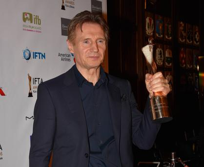 Liam Neeson at IFTA Awards 2016 at The Westbury Hotel & Mansion House, Dublin, Ireland where he was honoured with an Outstanding Contribution to Cinema Award