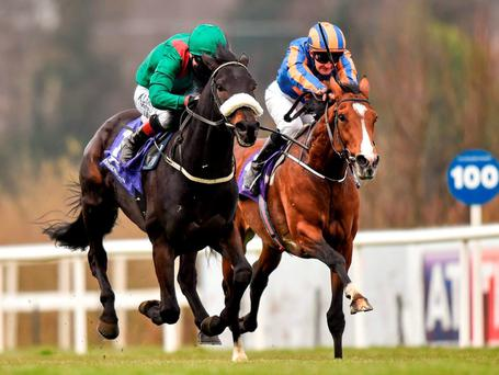 Harzand and Pat Smullen (left) get the better of Idaho in the Ballysax. Photo: Matt Browne / Sportsfile