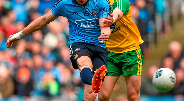 Bernard Brogan, Dublin, in action against Ryan McHugh, Donegal. Photo: Sportsfile