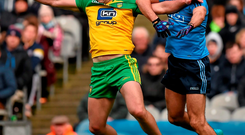 Donegal talisman Michael Murphy battles for possession with Dublin defender James McCarthy during yesterday's Allianz NFL Division One semi-final at Croke Park. Photo: Sportsfile