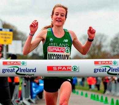 Fionnuala McCormack winning the Great Ireland Run yesterday. Photo: Tomás Greally / Sportsfile