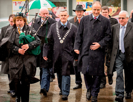 Seamus Hanafin of Tipperary County Council, Micheál Martin and Independent TD Mattie McGrath at the General Liam Lynch ceremony in Tipperary yesterday Photo: Dylan Vaughan