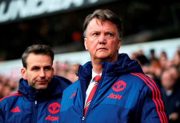 Louis van Gaal looks on prior to the match. Photo: Getty