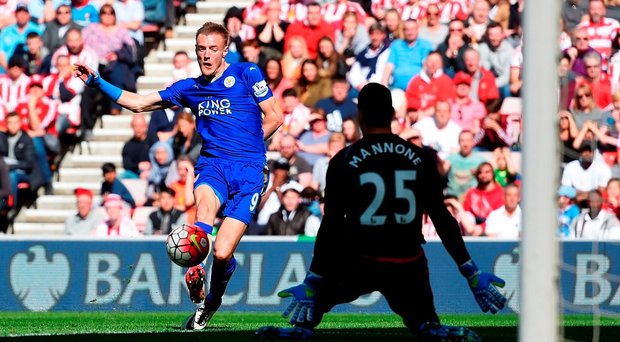 Jamie Vardy scores Leicester's opening goal in their victory against Sunderland. Photo: Getty