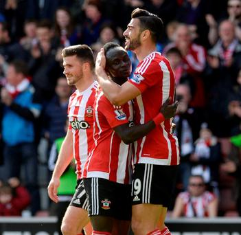 Southampton's Graziano Pelle celebrates scoring their second goal. Photo: Philip Brown/Reuters