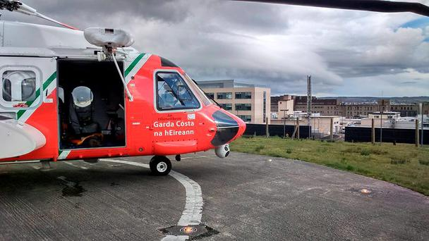 The Coast Guard helicopter at Letterkenny Hospital after the rescue of a man from a capsized boat Photo: Michael Treacy