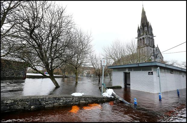 Flooding at the Cathedral in Ballinasloe last December Photo: Steve Humphreys