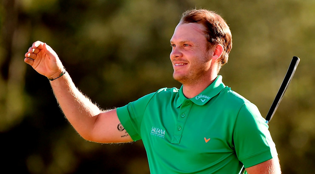 AUGUSTA, GEORGIA - APRIL 10: Danny Willett of England reacts after finishing on the 18th green during the final round of the 2016 Masters Tournament at Augusta National Golf Club on April 10, 2016 in Augusta, Georgia. (Photo by Harry How/Getty Images)