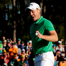 Apr 10, 2016; Augusta, GA, USA; Danny Willett reacts after putting on the 18th green during the final round of the 2016 The Masters golf tournament at Augusta National Golf Club. Mandatory Credit: Rob Schumacher-USA TODAY Sports TPX IMAGES OF THE DAY