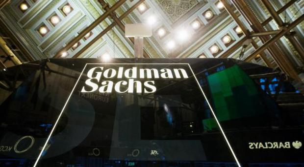 A Goldman Sachs sign above the floor of the New York Stock Exchange. Photo: Reuters