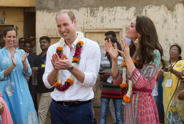 Catherine, Duchess of Cambridge arrived for her royal visit to Mumbai wearing a €10 pair of earrings from British high street chain Accessorize. (Photo by Arthur Edwards - Pool/Getty Images)