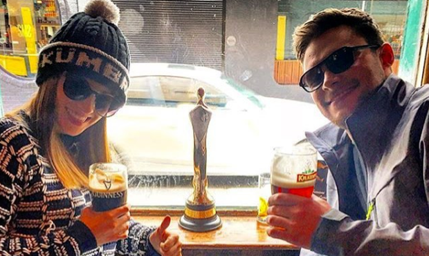 Jack Reynor and fiance Madeline Mulqueen enjoy a celebratory pint with the actor's IFTA award. Photo: Instagram