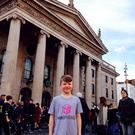 Conor McCriosta visiting the real GPO after building it in minecraft at DIT workshops