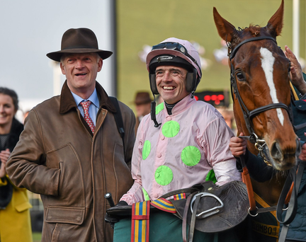 Trainer Willie Mullins, left, with jockey Ruby Walsh in the winners' enclosure last month after winning the Trull House Stud Mares Novices' Hurdle with Limini at Prestbury Park. Photo: Seb Daly/Sportsfile