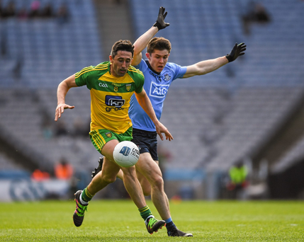 David Byrne shadows Donegal's Rory Kavanagh on Sunday. Byrne has impressed Barney Rock with his league displays in the last line of Dublin's defence. Photo: Ray McManus/Sportsfile