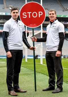 Waterford goalkeeper Stephen O'Keeffe and his Kilkenny counterpart Eoin Murphy at the launch of the KN Group All-Ireland GAA Golf Challenge, which will be held at Waterford Golf Club on September 9 and 10. Photo: David Maher/Sportsfile
