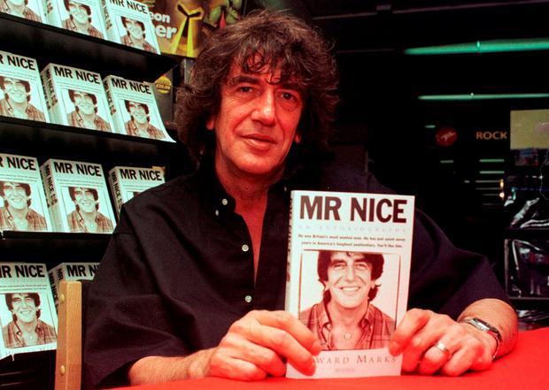 Howard Marks at the publication of his autobiography in 1997: the Welsh smuggler had 43 aliases, 25 companies trading around the world, and business links with the American Mafia, Colombian drug cartel overlord Pablo Escobar, and with the IRA. Photo credit: Ben Curtis/PA Wire