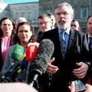 Gerry Adams with members of Sinn Féin at Leinster House. 'Both the Social Democrats and Sinn Féin have got off incredibly lightly for their refusal to get their hands dirty with the business of forming a government.' Photo: Tom Burke