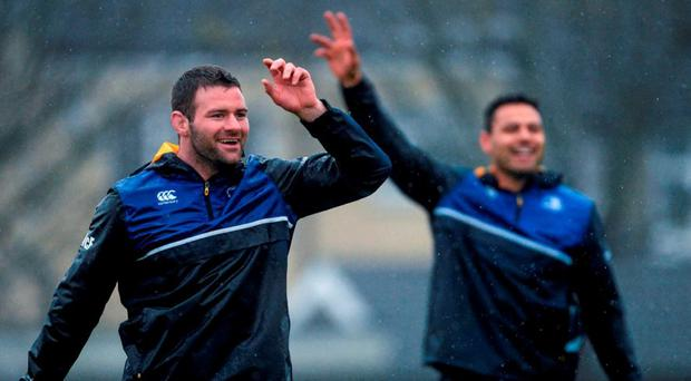 Fergus McFadden calls for the ball during Leinster's training session in Belfield yesterday. Photo: Piaras Ó Mídheach / Sportsfile