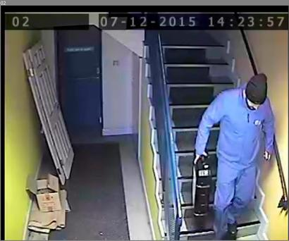 CCTV footage of the robbery at Merrywell Business Park
