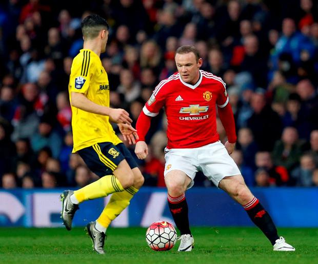 Manchester United's Wayne Rooney in action last night.