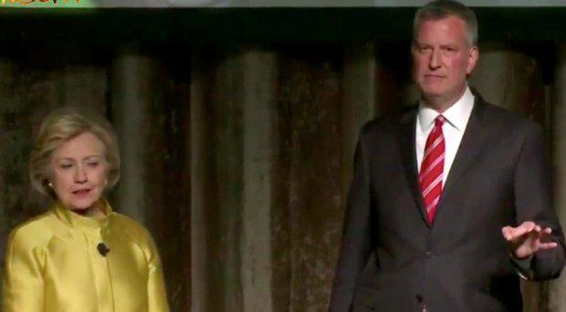 Ms Clinton and Mr de Blasio appear at the annual Inner Circle charity dinner North East/YouTube