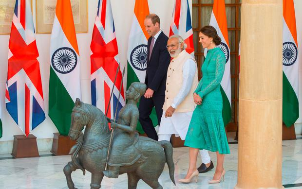 Catherine, Duchess of Cambridge and Prince William, Duke of Cambridge meet Prime Minister of India Narenda Modi in New Dehli, India. (Photo by Dominic Lipinski - Pool/Getty Images)