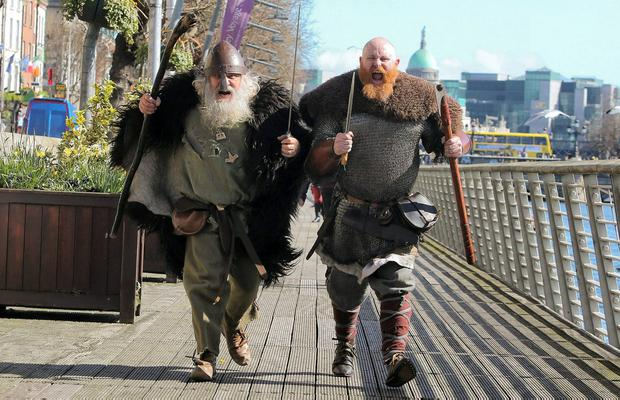 Iain Barber and Gary Nolan on the boardwalk in Dublin to mark the launch of the Battle of Clontarf Festival in 2014. The way the EU trade winds are blowing, there may be a case for Ireland to rediscover its old Viking links. Photo: Gareth Chaney Collins