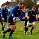 Leinster's Mike Ross during squad training. Ross' importance to Ireland was typified by his absence in the defeat to France, and with Marty Moore still out injured, he also remains a vital cog in Leinster's wheel. Picture: Stephen McCarthy / SPORTSFILE