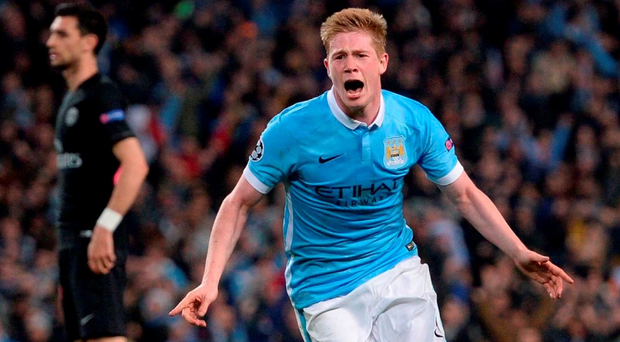 Manchester City's Belgian midfielder Kevin De Bruyne celebrates after scoring during the UEFA Champions league quarter-final second leg football match between Manchester City and Paris Saint-Germain at the Etihad stadium in Manchester on April 12, 2016. / AFP PHOTO / OLI SCARFFOLI SCARFF/AFP/Getty Images