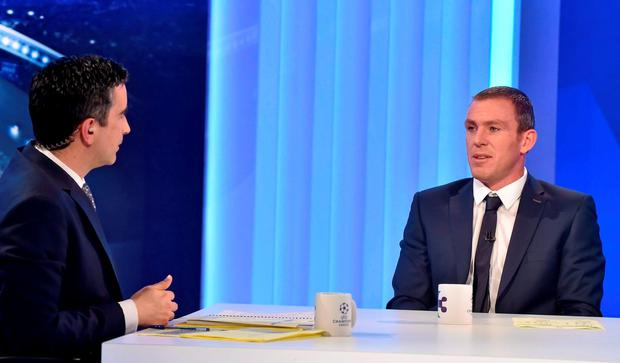 Tommy Martin with Richard Dunne in his role as analyst for TV3's Champions League coverage last night. Picture credit: Brendan Moran / SPORTSFILE