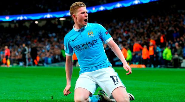 Kevin De Bruyne celebrates his goal against PSG. (Photo by Alex Livesey/Getty Images)