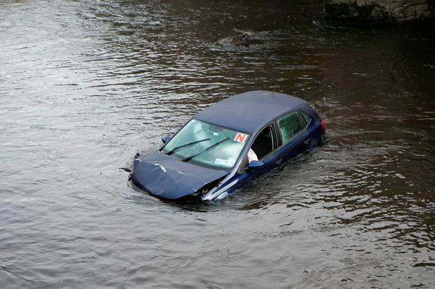 Car in the River Liffey in Celbridge