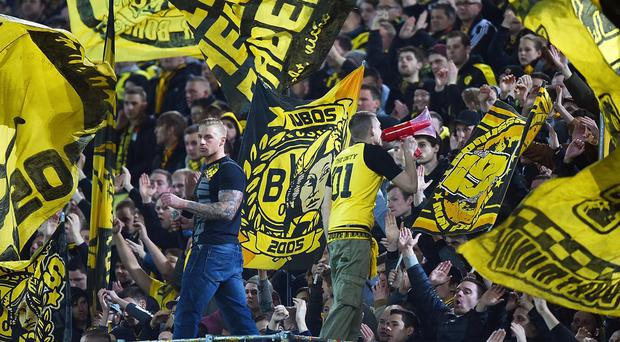 Borussia Dortmund supporters put on a display during last week's first leg against Liverpool. Getty