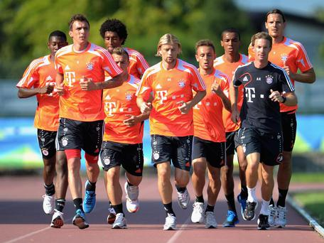 Kornmayer, in black, leading a fitness drill during the 2012/13 pre-season Getty