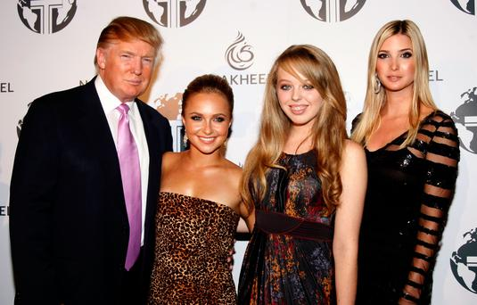 Donald Trump, Hayden Panettiere. actress Tiffany Trump, Ivanka Trump pose at the Nakheel Introduces Trump International Hotel and Tower Dubai party on August 23, 2008. (Photo by Frazer Harrison/Getty Images)