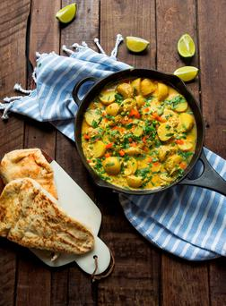 Potato and pea curry. Photo: Mark Duggan